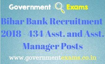 Bihar Bank Recruitment 2018 - 434 Asst. and Asst. Manager Posts