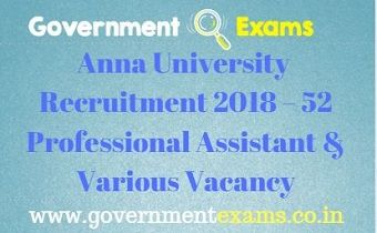 Anna University Recruitment 2018 – 52 Professional Assistant & Various Vacancy