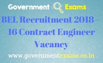 BEL Recruitment 2018 – 16 Contract Engineer Vacancy
