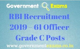 RBI Recruitment 2019 – 61 Officer Grade C Posts