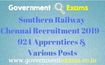 Southern Railway Chennai Recruitment 2019