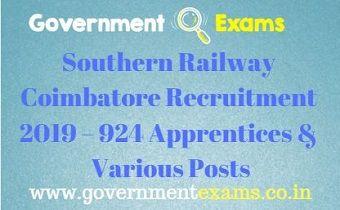 Southern Railway Coimbatore Recruitment 2019