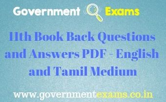 11th Book Back Questions and Answers | English, Tamil