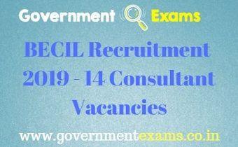 BECIL Recruitment 2019 - 14 Consultant Vacancies