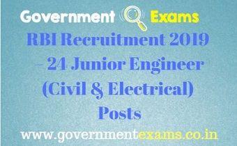 RBI Recruitment 2019 – 24 Junior Engineer Posts