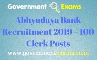 Abhyudaya Bank Recruitment 2019 – 100 Clerk Posts