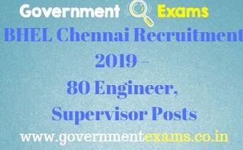 BHEL Chennai Recruitment 2019 – 80 Engineer, Supervisor Posts