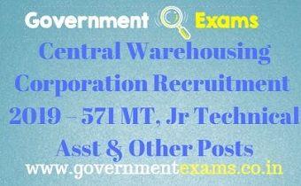 Central Warehousing Corporation Recruitment 2019