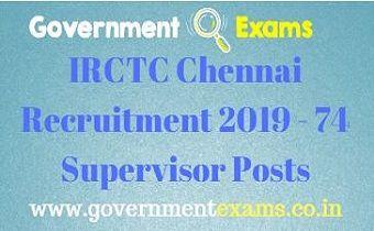 IRCTC Chennai Recruitment 2019
