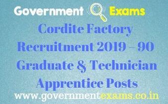 Cordite Factory Recruitment 2019