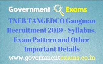 TANGEDCO Gangman Syllabus 2019