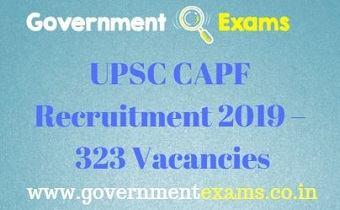 UPSC CAPF Recruitment 2019