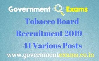 Tobacco Board Recruitment 2019
