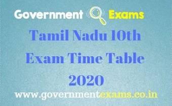 10th Public Exam Timetable 2020