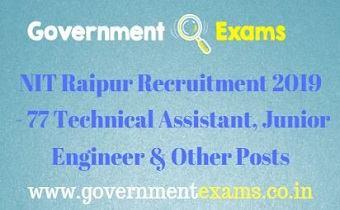 NIT Raipur Recruitment 2019