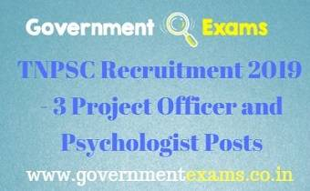 TNPSC Project Officer and Psychologist Recruitment 2019