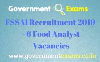 FSSAI Food Analyst Recruitment 2019