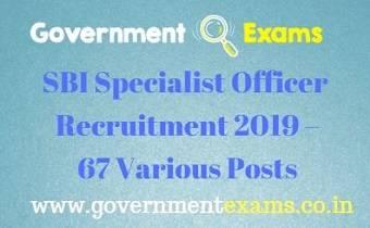 SBI Specialist Officer Recruitment 2019