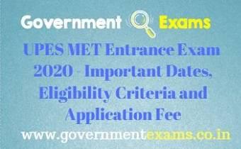 UPES MET Entrance Exam 2020