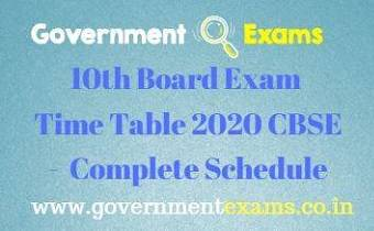CBSE 10th Exam Time Table 2020