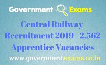 Central Railway Apprentice Recruitment 2019