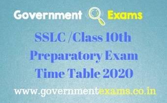 SSLC Preparatory Time Table 2020