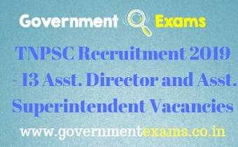 TNPSC Assistant Director & Superintendent Recruitment 2019