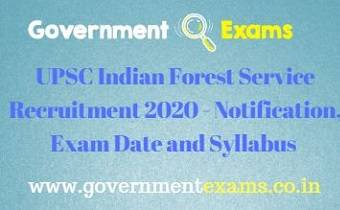 UPSC Indian Forest Service Recruitment 2020