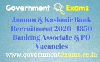 Jammu & Kashmir Bank Recruitment 2020
