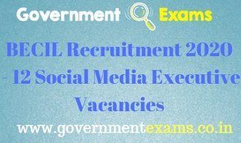 BECIL Social Media Executive Recruitment 2020