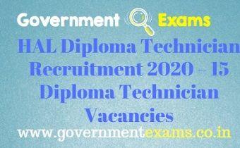 HAL Diploma Technician Recruitment 2020