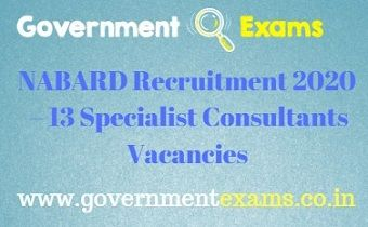 NABARD Specialist Consultants Recruitment 2020