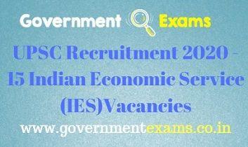 UPSC IES Recruitment 2020
