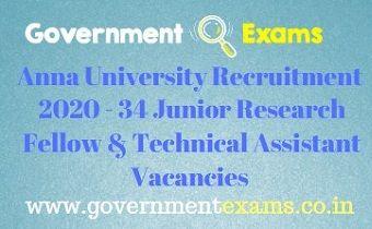 Anna University JRF and TA Recruitment 2020