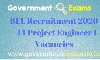 BEL Project Engineer I Recruitment 2020 14 Posts