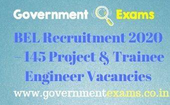 BEL Recruitment 2020 Project & Trainee Engineer 145 Vacancies