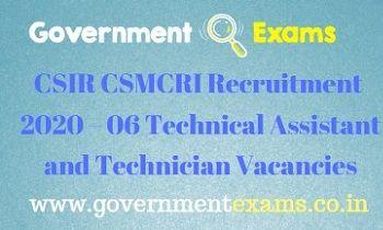 CSIR CSMCRI Technical Assistant and Technician Recruitment 2020