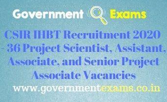 CSIR IHBT Recruitment 2020