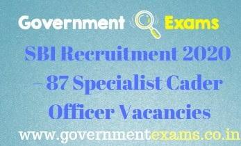 SBI Specialist Cader Officer Recruitment 2020