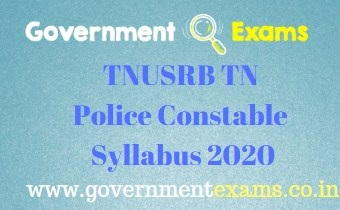 TNUSRB TN Police Constable Syllabus 2020