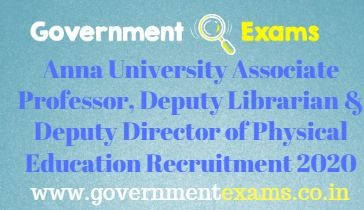 Anna University Associate Professor, Dy Librarian & Dy Director Recruitment 2020