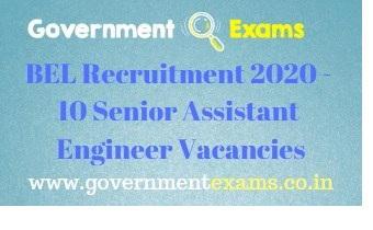 BEL Senior Assistant Engineer 2020