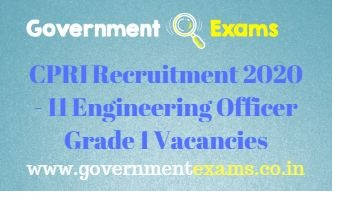 CPRI Engineering Officer Gr 1 Recruitment 2020