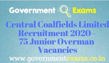Central Coalfields Limited Junior Overman Recruitment 2020