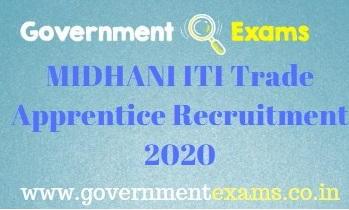 MIDHANI Trade Apprentice Recruitment 2020