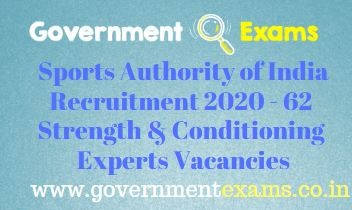SAI Strength and Conditioning Experts Recruitment 2020