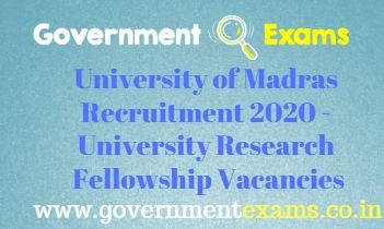 University of Madras Research Fellow Recruitment 2020