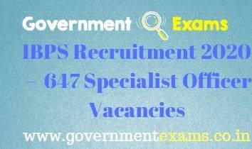 IBPS Specialist Officer Recruitment 2020