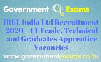 IREL India Ltd Apprentice Recruitment 2020