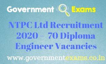 NTPC Diploma Engineer Recruitment 2020